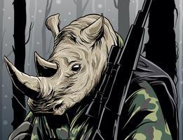 Cacciatore di rinoceronti nella giungla