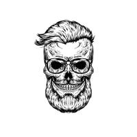 Vector illustration of human skull in sunglasses