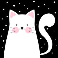 Funny, cute cat. Winter illustration.