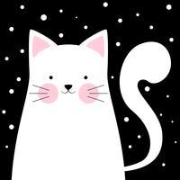 Gracioso, lindo gato. Ilustración de invierno