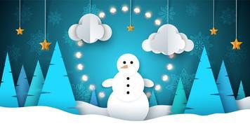 Paysage d'hiver. Bonhomme de neige, sapin, étoile, lune.