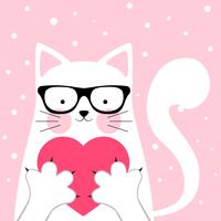 Funny, cute cat. love illustration.