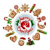 Ilustração em vetor de doces de Natal.