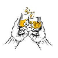 Vector illustration of two hands raised stemware