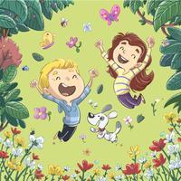 Niños divirtiéndose y saltando en primavera.