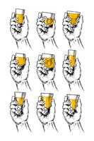 Set of vector illustrations  hands holding stemware