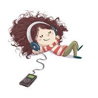 Liten tjej som lyssnar på musik som ligger på golvet