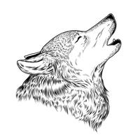 Illustration vectorielle d'un loup hurlant