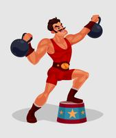 Vector illustration of a circus weightlifter