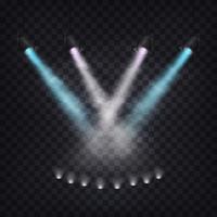 Set med vektor sceniska spotlights i dimma