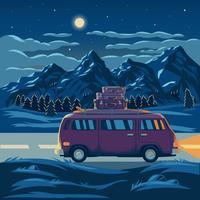 Illustration vectorielle d'un paysage de montagne