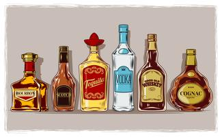 Vector set of bottles with alcohol and stemware
