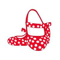 Red flamenco heels with whites dots. Typical Spanish.