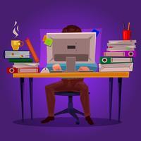 Illustrazione vettoriale di un uomo che lavora al computer