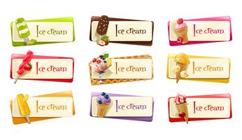 Vector set of banners with ice cream