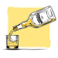 Vector illustration of whiskey and glass