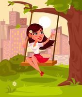 Vetorial, ilustração, de, um, menina jovem, sentando, ligado, balanço