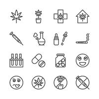 Cannabis icon set.Vector illustration