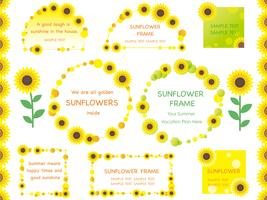 Set of assorted sunflower frames, borders, and tags.