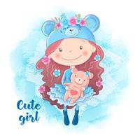 Menina bonito dos desenhos animados com urso. Ilustração vetorial