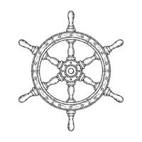 Vector illustration of an old nautical wooden steering wheel