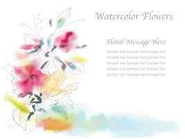 Geassorteerde bloemen vectorillustratie in een spontane waterverf het schilderen stijl.
