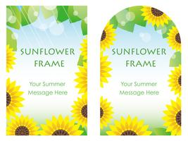 Set of two sunflower frames.  vector