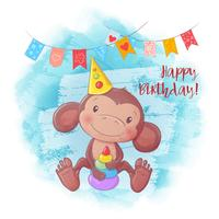 Cartoon cute monkey with a pyramid. Birthday card. Vector illustration