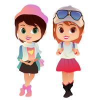 avatar colorido desenho animado campus elegante menina