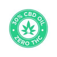 Ícone de 30 por cento de óleo CBD. Zero THC