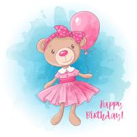 Cartoon cute girl bear with a balloon. Birthday card. Vector illustration