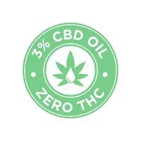 Ícone do óleo de CBD de 3 por cento. Zero THC