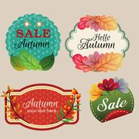 autumn stickers with colored leaves
