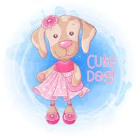 Cartoon cute girl doggie with a handbag in a pink dress. Vector illustration