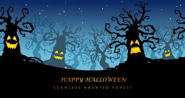 Happy Halloween seamless haunted forest vector illustration with text space.