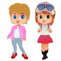 Dibujos animados de avatar de color con chica del campus