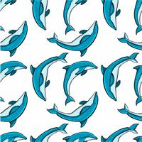 Hand drawn Seamless Dolphin Pattern