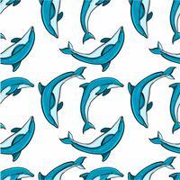 Dibujado a mano patrón de delfines sin costura