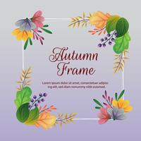 autumn frame and decoration with colored leaves