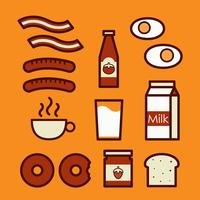 Breakfast icons. Cute cartoon doodle illustration. vector
