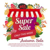 autumn sale poster colored leaves foliage