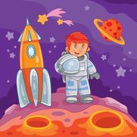 Vektor illustration av en liten pojke astronaut