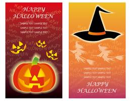 Set of two Happy Halloween greeting card templates with Jack-o'-Lantern and a witch hat.