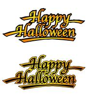 Set of two Happy Halloween logos, vector illustrations.