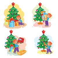 Ensemble d'icônes petit garçon ouvrant des cadeaux de Noël