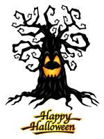 Arbre hanté avec logo Happy Halloween, illustrations vectorielles.