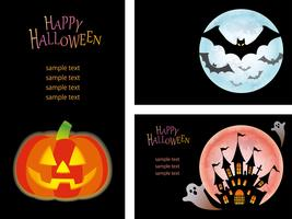 Set of Happy Halloween card templates with Jack-O'-Lantern, bats, and a haunted house with ghosts.