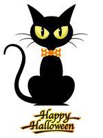 Chat noir avec logo Happy Halloween, isolé sur fond blanc.