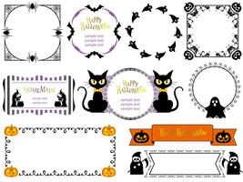 Set of assorted Happy Halloween frames, isolated on a white background.