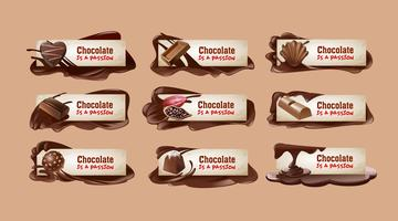 Set of vector chocolate banners.